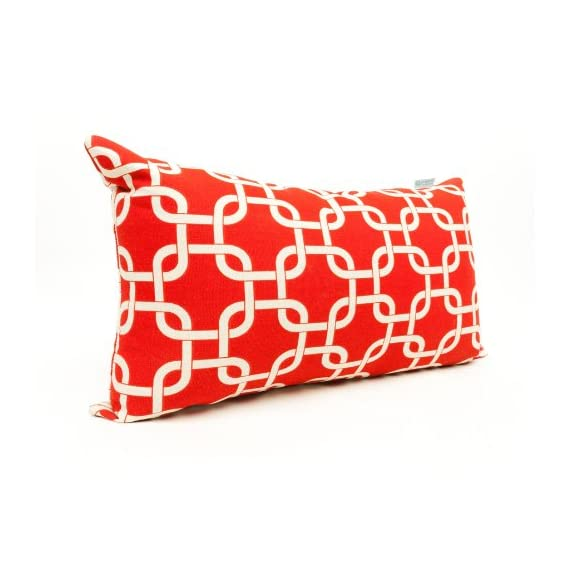 """Majestic Home Goods Red Links Indoor / Outdoor Small Throw Pillow 20"""" L x 5"""" W x 12"""" H - Dimensions - 20 in. x 12 in. x 5 in. (approx.) Perfect portable size for all indoor and outdoor environments U.V. Treated Covers - these throw pillows uses an outdoor treated polyester and cotton cover that offers up to 1000 hours of protection Ultra Comfortable - the pillows are filled with our Super High Loft PolyFiber Fill to give them an ultra-soft cushion feel - patio, outdoor-throw-pillows, outdoor-decor - 51xKOQWdinL. SS570  -"""