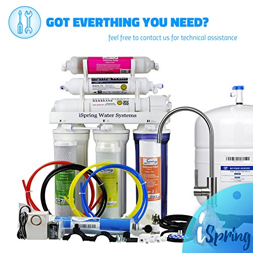 iSpring RCC7AK - Built in USA, WQA Certified Reverse Osmosis 6 Stages 75GPD Under Sink Water Filter w/ Alkaline stage, Clear Housing, Designer Faucet