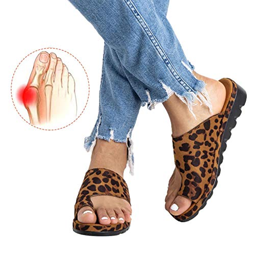 Chenghe Women's Flip Flop Wedge Sandal Comfort Open Toe Thong Slid Slippers Summer Beach Travel Sandal Shoes Leopard US 6