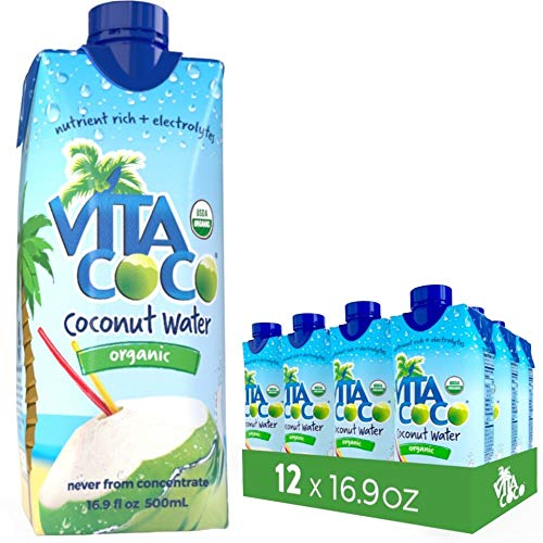 Vita Coco Organic Coconut Water, Pure Naturally Hydrating Electrolyte Drink, Smart Alternative to Coffee, Soda, and Sports Drinks, Gluten Free, 16.9 Fl Oz, Pack of 12