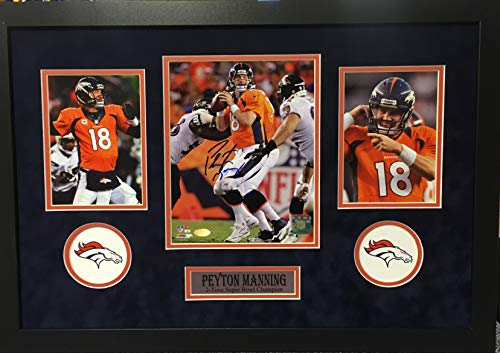 Peyton Manning Denver Broncos Signed Autograph Custom Framed Photo Suede Matting 18x26 Photograph Steiner Sports Certified