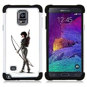 BullDog Case - FOR/Samsung Galaxy Note 4 SM-N910 N910 / - / WHITE ARCHER BUTT SEXY WOMAN ARROW /- H??brido Heavy Duty caja del tel??fono protector din??mico - silicona suave