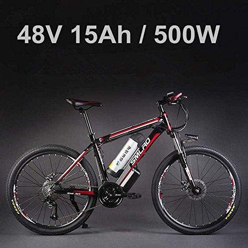 """SMLRO 26"""" vélo électrique d'alliage d'aluminium de Batterie au Lithium 48V 500W, vélo électrique DE 27 Vitesses, VTT/vélo de Montagne, adoptent des Freins à Disque d'huile"""