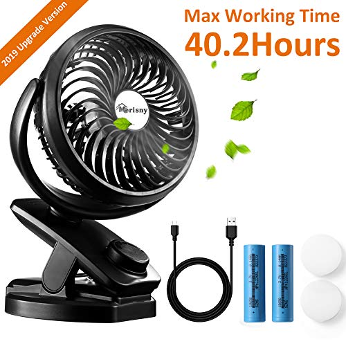 Hpory USB Clip On Fan for Baby Stroller Rechargeable Portable Desk Fan 2 in 1 Mini Fan with 4400mAh Battery Powered Fan for Office, Camping or Outdoor Activities