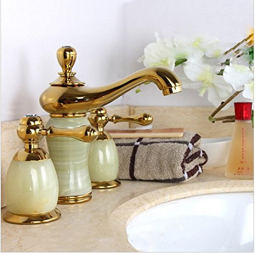 GOWE Luxury stone basin mixer faucet/ Copper gold Dual handle bathroom sink taps/Bathtub shower set 0