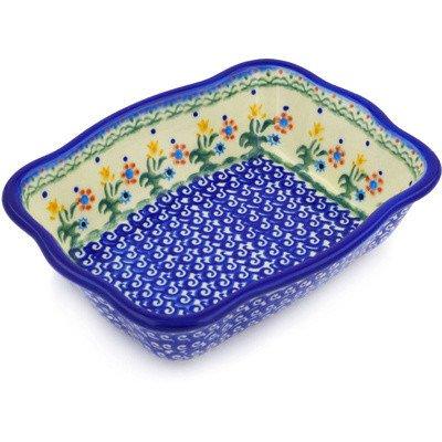 Polish Pottery Rectangular Baker 8-inch (Spring Flowers)
