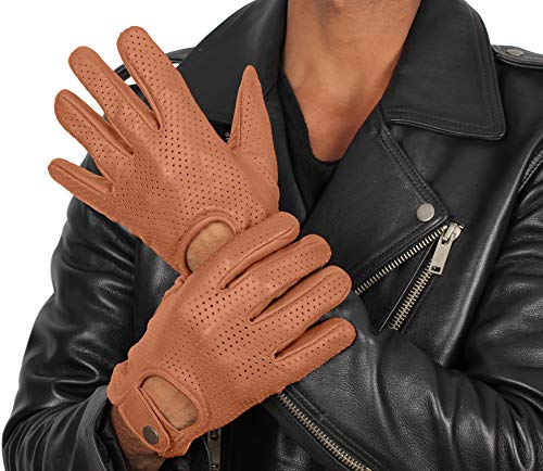 Mens Tan Brown Leather Biker Gloves - Adult Deerskin Motorcycle Gloves (L)