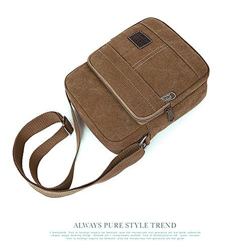 aire Bag libre Negro Ocio bolso Viajes marrón Messenger Satchel al lona de EssVita hombro Unisex bolso Mensajero al multifunción xwvqPPY1