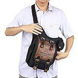Mens Boys Vintage Canvas Shoulder Military Messenger Bag Sling School Bags Chest Military Leather Patchwork Messenger Bag (Black)
