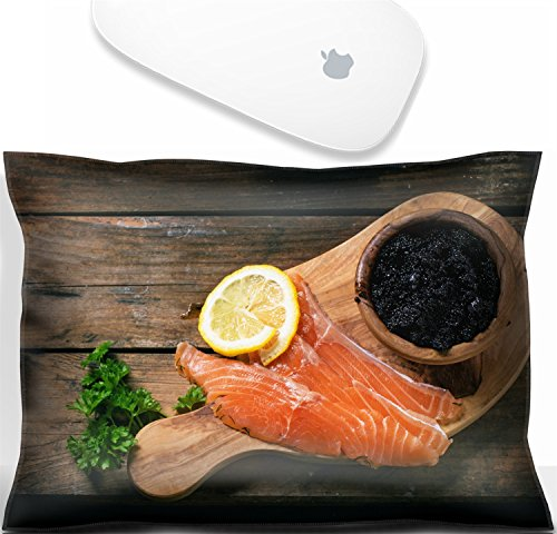 (Luxlady Mouse Wrist Rest Office Decor Wrist Supporter PillowIMAGE: 34063724 Bowl of black caviar and pieces of salted salmon on olive wood board with vintage over old wooden table Top view)