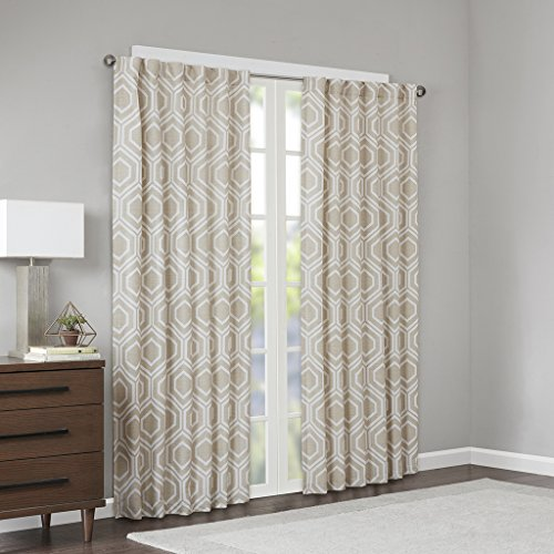 JLA Home INC Modern Gold Curtains For Living room, Kendall Geometric Rod Pocket Curtains For bedroom, Polyester Back Tab Window Curtains, 50X95, 1-Panel - Room Dining Kendall