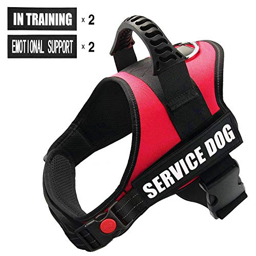 FAYOGOO Dog Vest Harness for Service Dogs, Comfortable Padded Dog Training Vest with Reflective Patches and Handle for Large Medium Small Dogs (Small: Chest 20-25 Neck 16-20, Red)