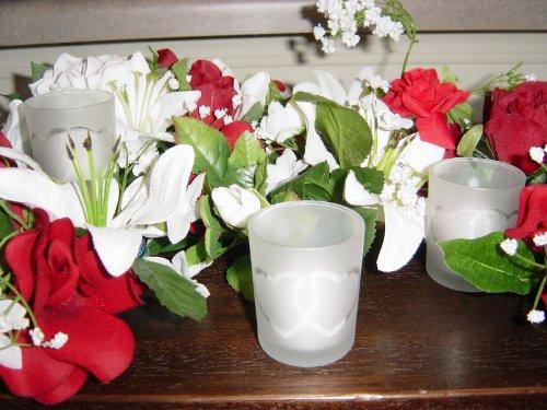 spring rose tm double heart wedding votive candle holder set of 12 includes white unscented. Black Bedroom Furniture Sets. Home Design Ideas