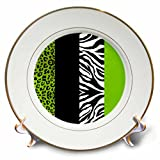 3dRose cp_35440_1 Lime Green Black and White Animal Print Leopard and Zebr a Porcelain Plate, 8''
