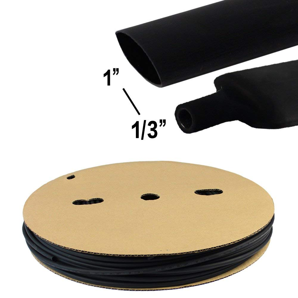 Heat Shrink Tube Polyolefin Butt Splice Wire Cable Connector Tuner Flame Retardant Waterproof 3:1 Ratio Adhesive Double Wall Black 1'' Diameter 32ft