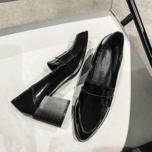Xue Qiqi Court Schuhe Schuhe Schuhe Tipp Rauh mit Einzelnen Schuhen Wilde Lässig Faule Füße Schuhe 35 Schwarz 7103ff