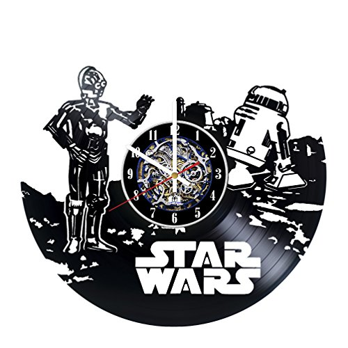 Robots Design Vinyl Record Wall Clock / Gift idea for his and her / Original home room wall decor / Unique Fantasy Movie Fan (R2d2 Trash Can Costume)