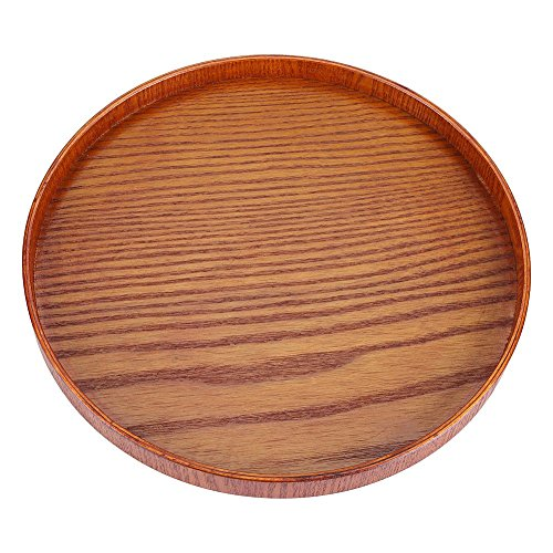 (Round Natural Wood Serving Tray Wooden Plate Platter Tea Food Dishes Water Drink for Countertop Kitchen Coffee Table Breakfast (33cm))