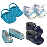 18 Inch Doll Shoe Pack in Blue. Fits American Girl Dolls. 4 Pairs of Blue Shoes., Baby & Kids Zone
