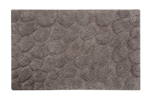 Saffron Fabs Bath Rug 100% Soft Cotton, Size 34x21 Inch, Latex Spray Non-Skid Backing, Gray Color, Pebbles Pattern, Hand Tufted, Heavy 190 GSF Weight, Machine Washable, Rectangular Shape by Saffron Fabs
