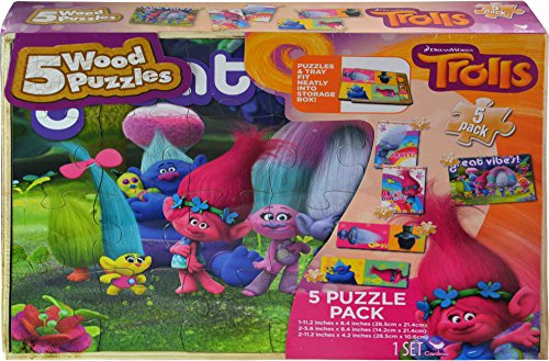 DreamWorks Trolls 5 Wood Puzzle Pack for Children
