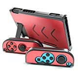 WOLSEN Aluminum Alloy Protective Metal Shockproof, Anti-Scratch, Hard Back Case Cover, Full-Body Protective Case For Nintendo Switch Console And Joy-Con Controller NS(Red)