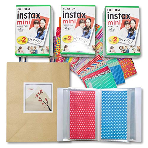 Lazur] Fujifilm instax Mini Instant Film 20×3pack (60 Exposures) + 60 Sticker Frames + 60 Pocket Mini Photo Album for Fujifilm Instax Mini 7s 8 8+ 9 25 26 50s 70 90 Film + Gift Bag