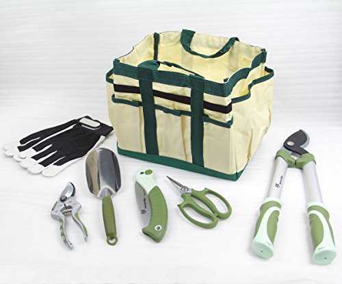 Worth 7 Pieces Ergonomic Garden Tool Set Plant Care Hand Tools Combination (Bag、trowel、lopper、pruner、scissors、folding saw、glove) by Worth