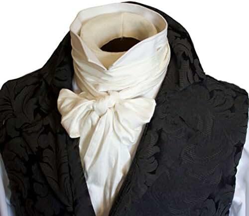 Elegantascot Men's Handmade Extra-Long Slim Regency Dupioni Silk Tie