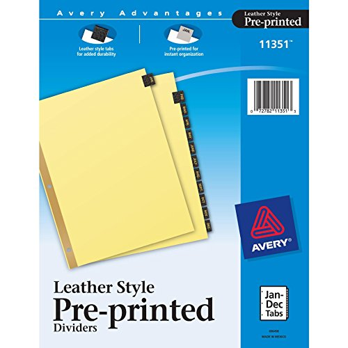 Leather Tab Index - Avery(R) Black Leather Index Tab Dividers, Jan.-Dec.