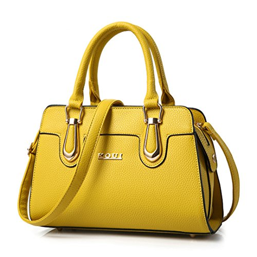 Wewod Fashion Women Shoulder Bag Tote Bag Yellow Messenger Bags, Sports, Work, Casual, Travel 30 X 22 X 14 Cm (l * H * W)