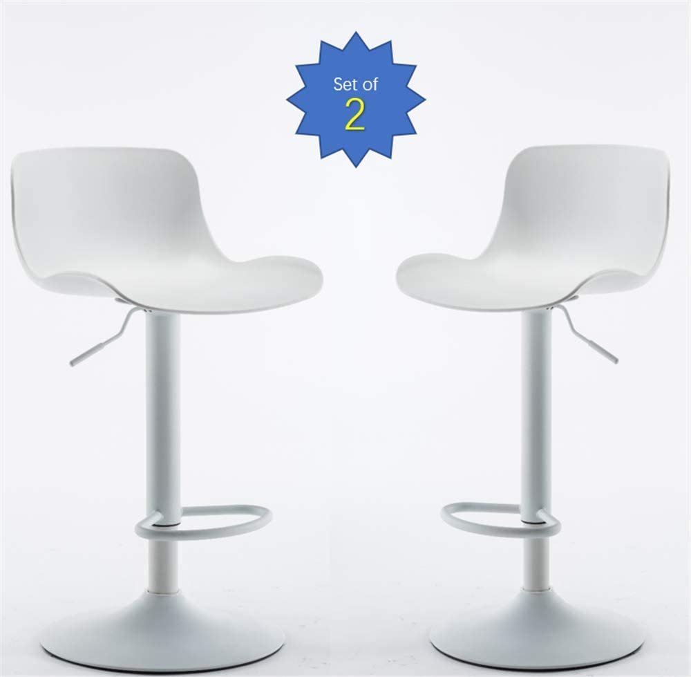 Family Life Adjustable Swivel Bar Stools Set of 2, Counter Height Bar Chairs with Plastic Back and Armless Seat White