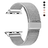 RXCOO Compatible for Watch Band 38mm/40mm 42mm/44mm, Stainless Steel Mesh Wristband Loop Magnet Band Compatible with Iwatch Series 4/3/2/1 (Silver, 38mm/40mm)