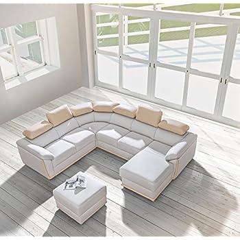 Cadiz Dolm08 Right Corner Sectional Sofa Bed, White/Beige