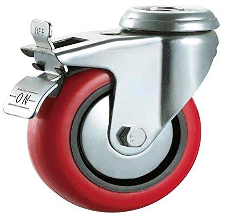 con freni, max 400/kg a set ruote per mobili 100 mm Bulldog Castors molto resistenti poliuretano rosso elettrodomestici e attrezzatura Rotelle fisse in poliuretano