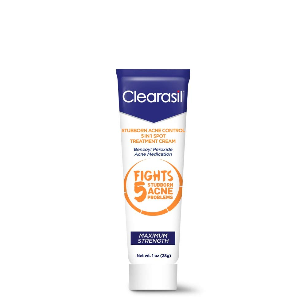 Amazon Com Clearasil Stubborn Acne Control 5 In 1 Spot Treatment Cream Maximum Strength Benzoyl Peroxide Acne Medication Fights Blocked Pores Pimple Size Excess Oil Acne Marks Blackheads 1 Oz Tweezers Beauty