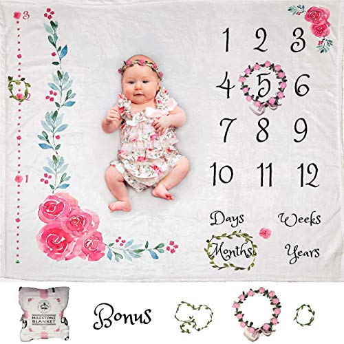 Personalized Calendar Monthly - Baby Monthly Milestone Blanket for Girl | Growth Height Tracker | Soft Large Backdrop | Bonus Floral Wreath & Garland | Best Baby Shower Gift for New Mom | Newborn Photo Memory Templates for Stickers