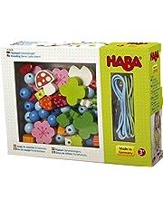 HABA 302636 Rijgspel geluksbrenger, creatief rijgspeelgoed met geluksbrenger-motieven, set van 2 rijgkoorden, 30 rijdelelementen en 20 kralen om te rijgen, speelgoed vanaf 3 jaar