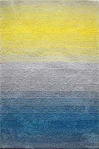 HeritageGroup Shaggy Carpet Highlight Grey Blue Yellow 250 x 350 cm