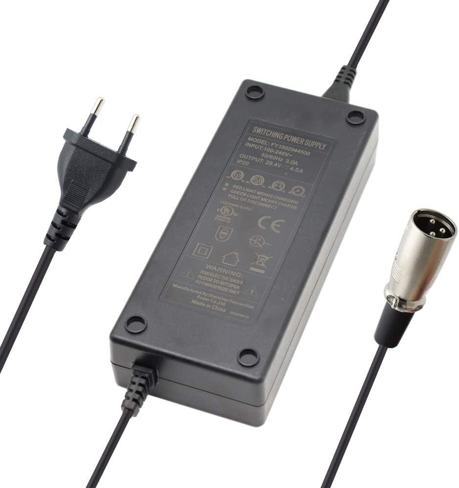 Abakoo Fuente de alimentaci/ón de carga r/ápida para bater/ías de 24 V con conector XLR de 18,5 mm 3 pines 29,4 V 4,5 A sustituye a HP1202L2 para bater/ías Aldi Netto Prophete Alu-Rex