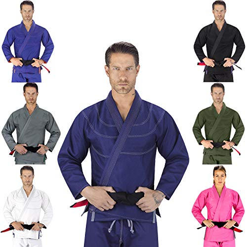 Elite Sports Essential IBJJF Ultra Light Brazilian Jiu Jitsu Adult BJJ Gi W/Preshrunk Fabric & Free White Belt (Navy, A3)