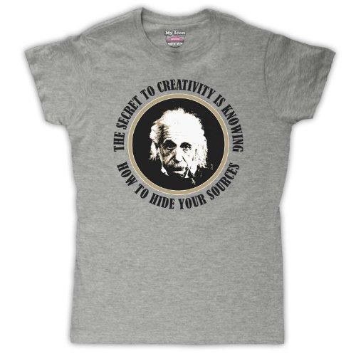 Albert Einstein Secret To creatividad para mujer T-Shirt Vintage Grey