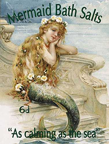 (Mermaid Bath Salts Metal Sign: Surfing and Tropical Decor Wall Accent)