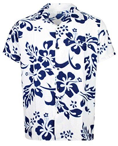 Hawaiian Shirt Hibiscus (V.H.O Funky Hawaiian Shirt, Shortsleeve, Hibiscus, Navyblue on White New, XXL)