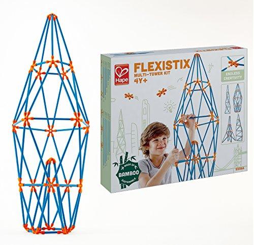 Hape Flexistix STEM Building Multi-Tower Kit, Featuring 132 Multi-Colored Bamboo Pieces