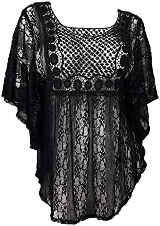 eVogues Sheer Crochet Lace Poncho Top