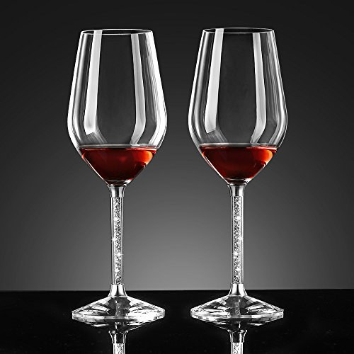 Ecooe Red Wine Glasses, With Rhinestone Stem, Set of 2, 460ml / 16oz( Full (Stem Wine Goblet)
