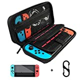 SURPHY Carrying Case for Nintendo Switch, Glass Screen Protector and Portable Nintendo Switch Travel Bag with 20 Game Cartridges for Nintendo Switch Console & Accessories (Black, Nylon),with Carabiner