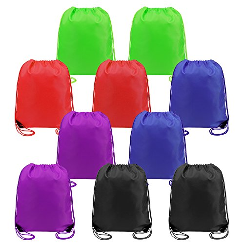 Drawstring Bags Bulk for Kids Boys Girls Party Favors Bags Gym Drawstring Backpacks Cinch Bags 10 Pack by BeeTravel (Image #7)