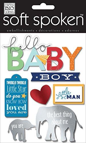 me & my BIG ideas Soft Spoken Themed Embellishments, Little Man Baby Boy Baby Boy Embellishment